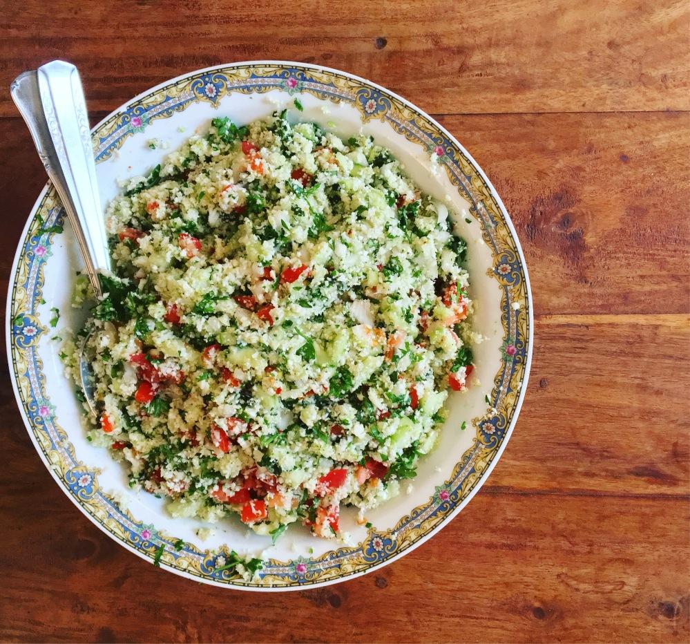 recette facile taboulé de chou fleur cru seignalet vegan sans gluten sans semoule