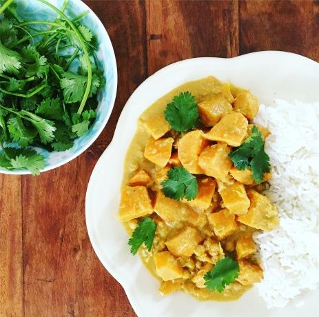 curry vegan vegetarien patate douce pois chiche sans gluten seignalet fibromyalgie guerir alimentation qui soigne recette simple sain