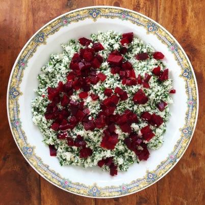 taboulé chou fleur cru vegan fibromyalgie alimentation douleur chronique manger sain recette sans gluten